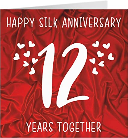 12th Wedding Anniversary Card Silk Anniversary By Hunts England Iconic Collection Amazon Co Uk Office Products