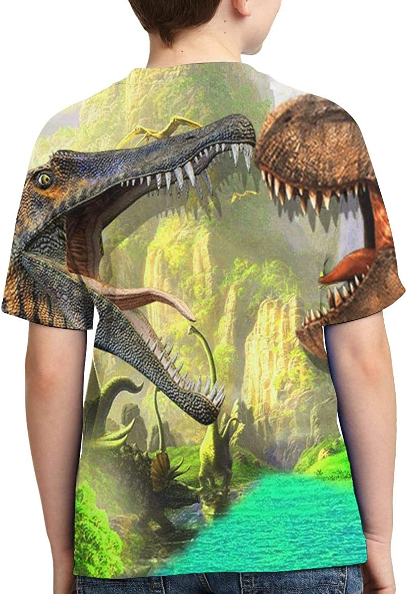 HHTZTCL Dinosaur Boys Print Graphic Tee Short Sleeve T-Shirt