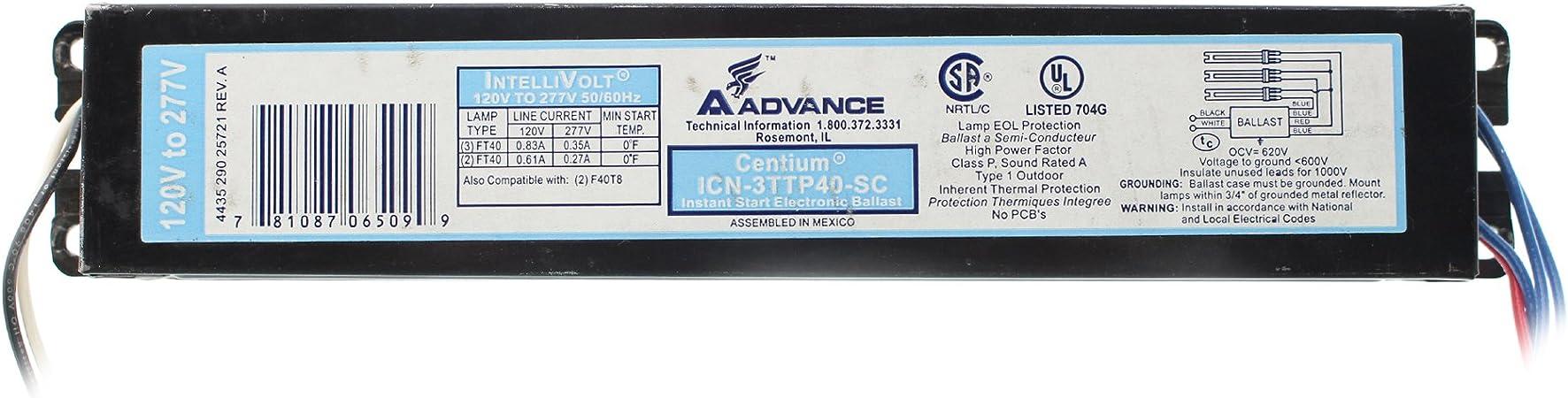 Philips ADVANCE CENTIUM ICN-2TTP40-SC BALLAST VOLT 120//277V FT40W NEW