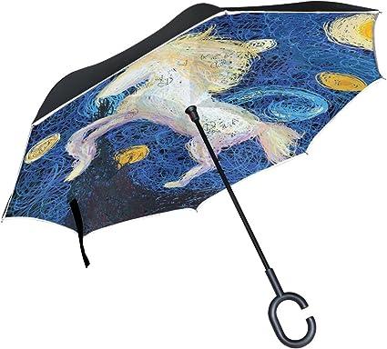 """RainStoppers Rain//Sun UV 48/"""" Arc Van Gogh Starry Night Auto-Open Umbrella"""