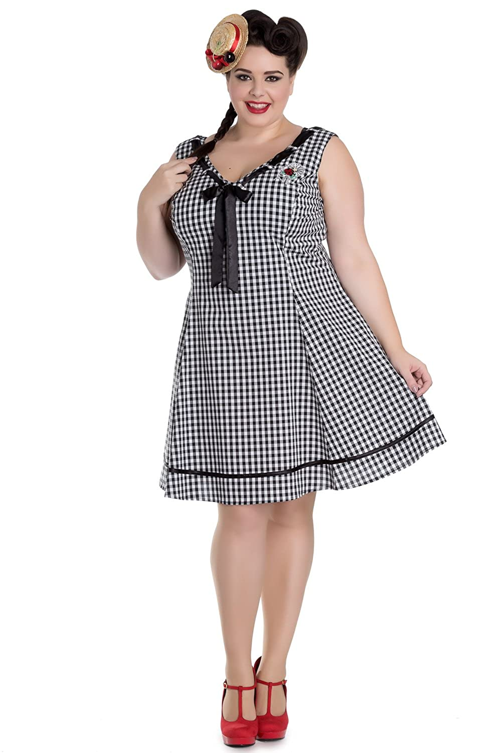 Plus Size Retro Dresses Hell Bunny Plus Sweet Lady Gingham Check Ladybug Embroidery V-neck Dress $73.00 AT vintagedancer.com