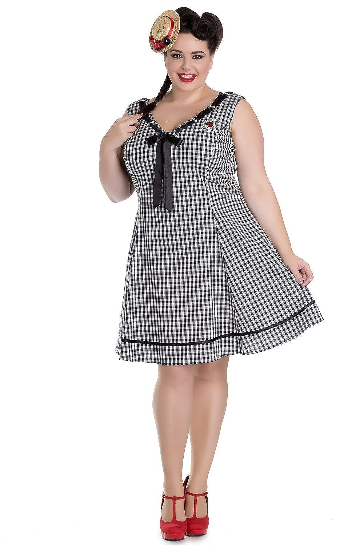 1950s Rockabilly Dresses Hell Bunny Plus Sweet Lady Gingham Check Ladybug Embroidery V-neck Dress $73.00 AT vintagedancer.com