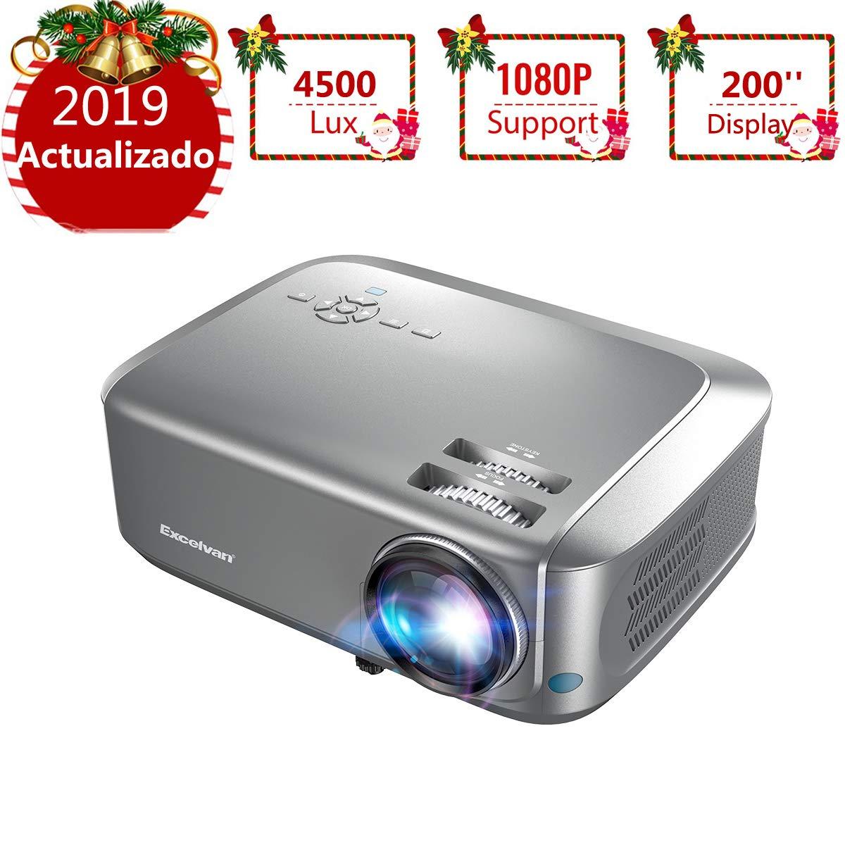 Proyector4500 Lúmenes Excelvan Proyector de Video Portátil Resolución 1280*768P Soporte 1080P Full HD LCD Contraste 1000:1 1080P/USB/VGA/SD/HDMI para ...