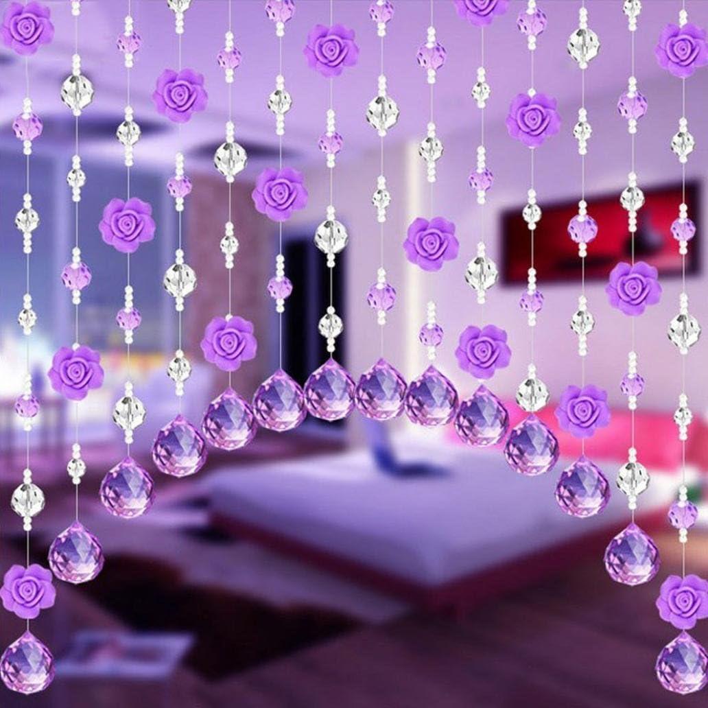 Hunpta - Cortina de cuentas de cristal en forma de rosa de lujo para salón, dormitorio, ventana, puerta o decoración de boda