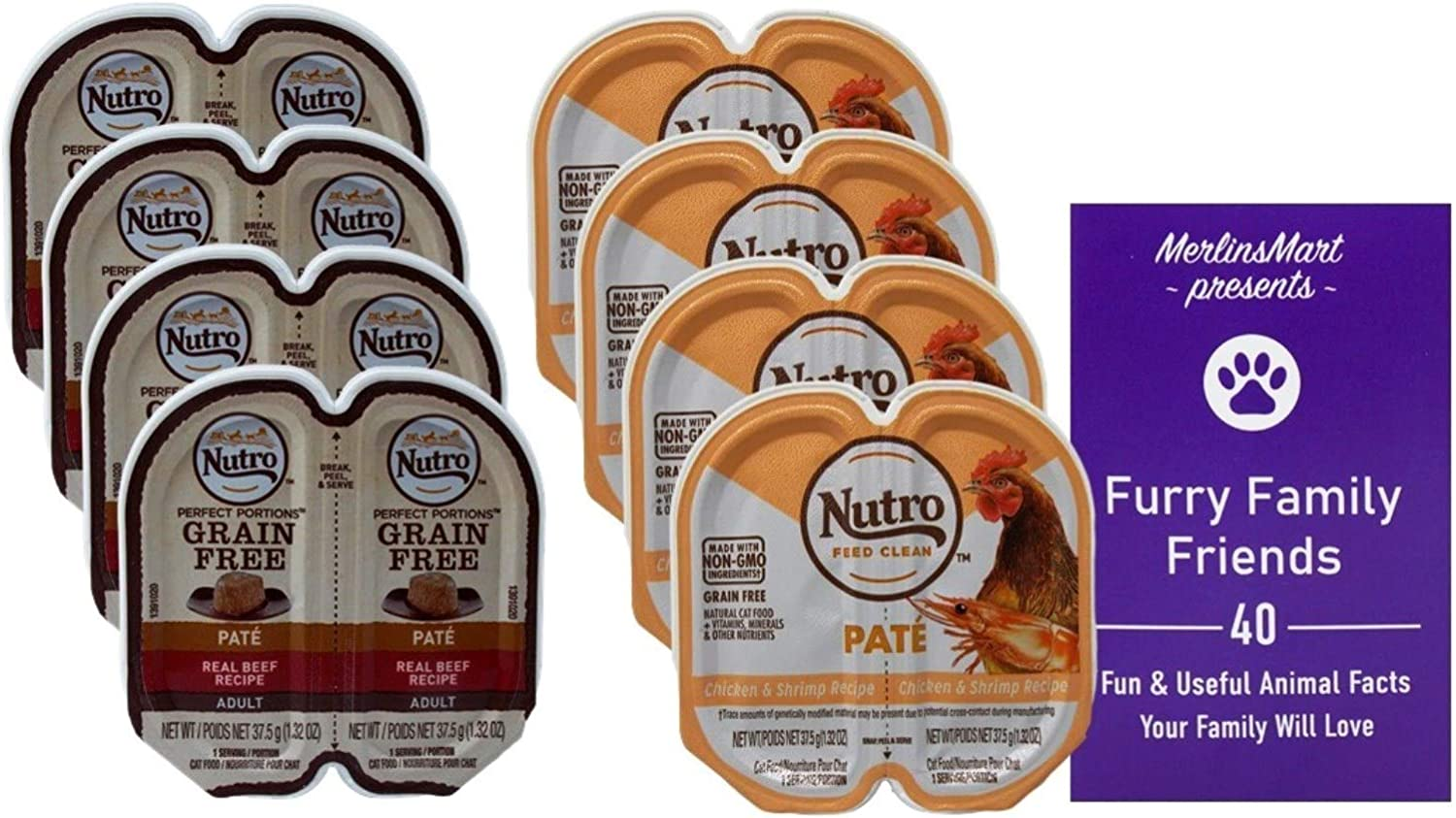 Nutro Feed Clean Grain Free Pate Cat Food 2 Flavor 8 Can Sampler - (4) Each: Beef, Chicken Shrimp (2.64 Ounces) - Plus Fun Facts Booklet Bundle
