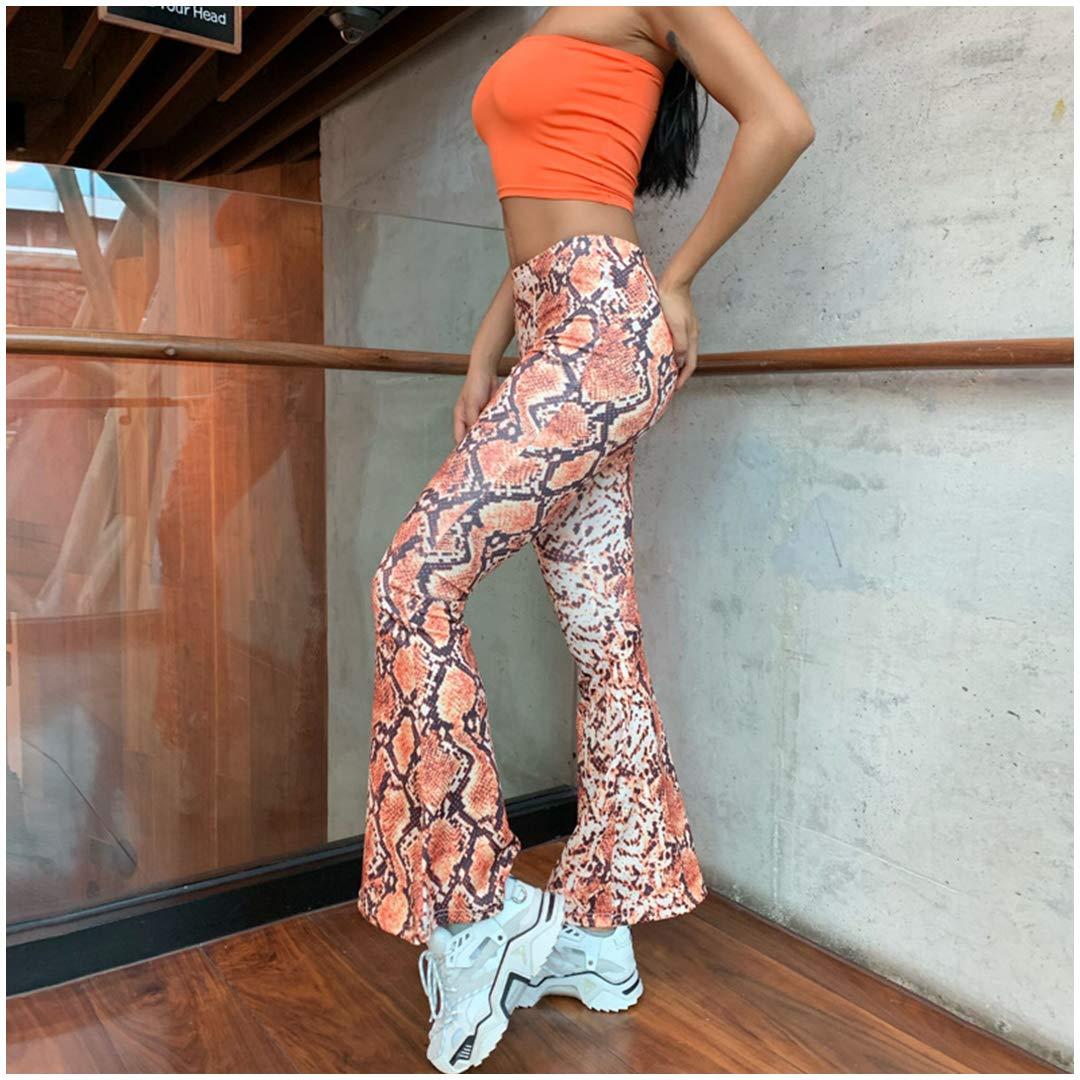 Jascaela Women Stretchy Snakeskin Printed Bell Bottom Flared Pants Boho Style High Waist Long Trousers Pants