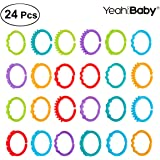 YeahiBaby Baby Teethers Ring Toy, Link Rings Toys Infant Links Safe Teething Toys 24Pcs
