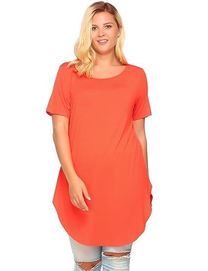 Zeagoo Women\'s Plus Size Side Slit Casual Short Sleeve Long Tshirts Tees  Dress Tops