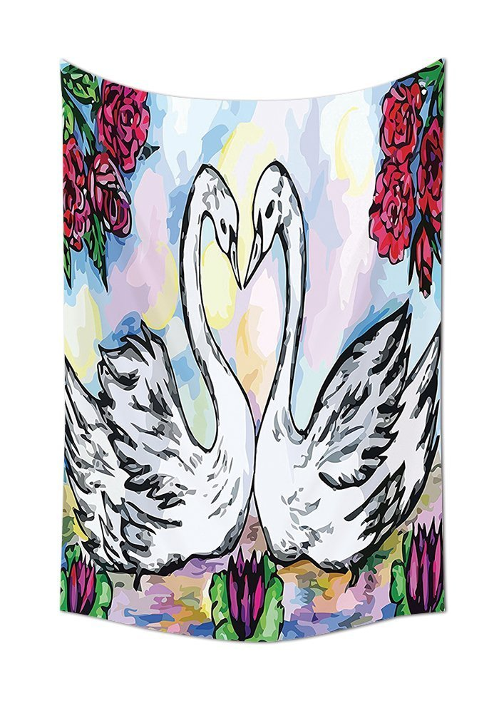 Animal Decor Tapestry Wall Hanging Grunge Style Sketch Image of Lover White Swan Partners in Pond with Lily Flowers and Red Roses Bedroom Living Room Dorm Decor Multi