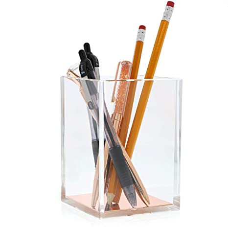 Cool Juvale Acrylic Pen Holder Clear Stationery Organizer Desk Organization Desk Caddy Modern Office Accessories Clear With Rose Gold Bottom 3 1 X Home Interior And Landscaping Oversignezvosmurscom