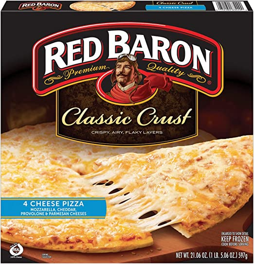 Red Baron, Classic Four Cheese Pizza, 21.06 Ounce (Frozen)