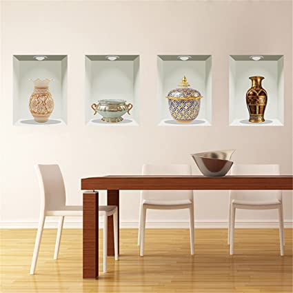 Amazon.com: Stazsx Modern creative wall stickers 3D three ...