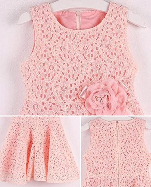 Amazon.com: One Piece Girls Kids Full Lace Floral Princess Party Dress Sleeveless Child O-Neck Dress (age:3-4years old, pink): Beauty