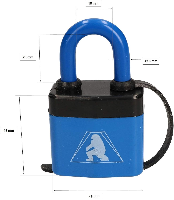 KOTARBAU/® Lucchetto ad arco 46 mm in acciaio laminato con rivestimento in PVC antifurto serratura massiccia temprata