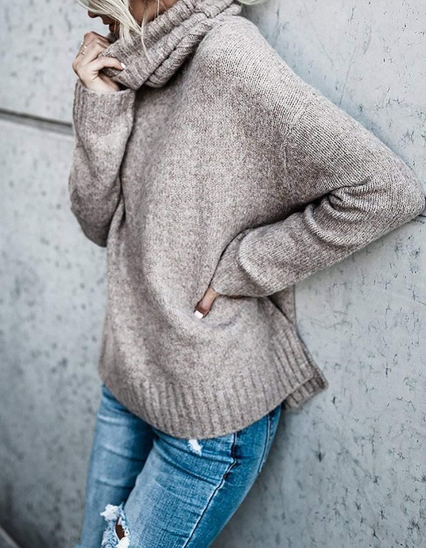 BOLAWOO Sudaderas Mujer Otoño Invierno Elegante Pullover Irregular Cuello  Alto Mode De Marca Manga Largo Anchos 24de148f4c00