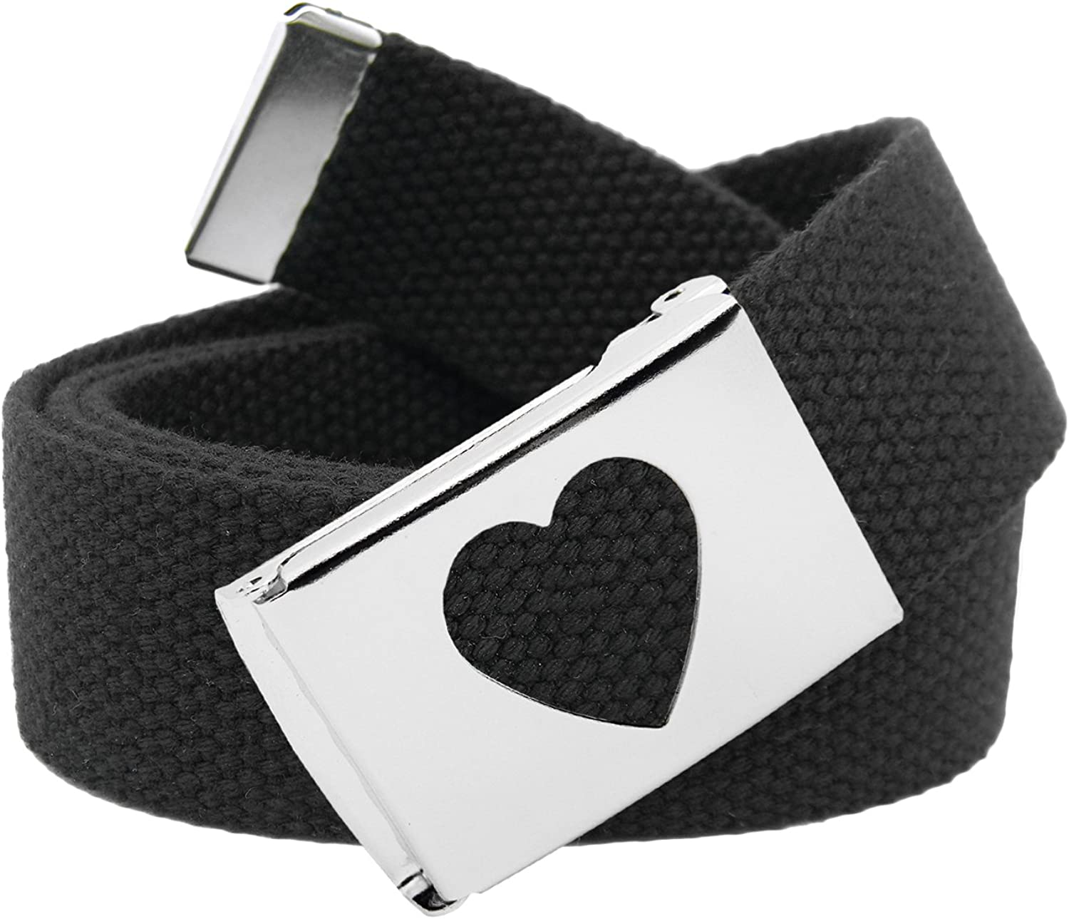 Girls School Uniform Silver Flip Top Heart Belt Buckle with Canvas Web Belt