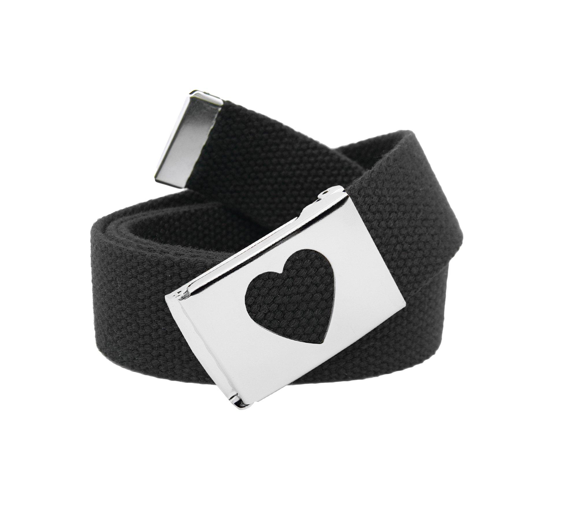 Girl's School Uniform Silver Flip Top Heart Belt Buckle with Canvas Web Belt Small Black
