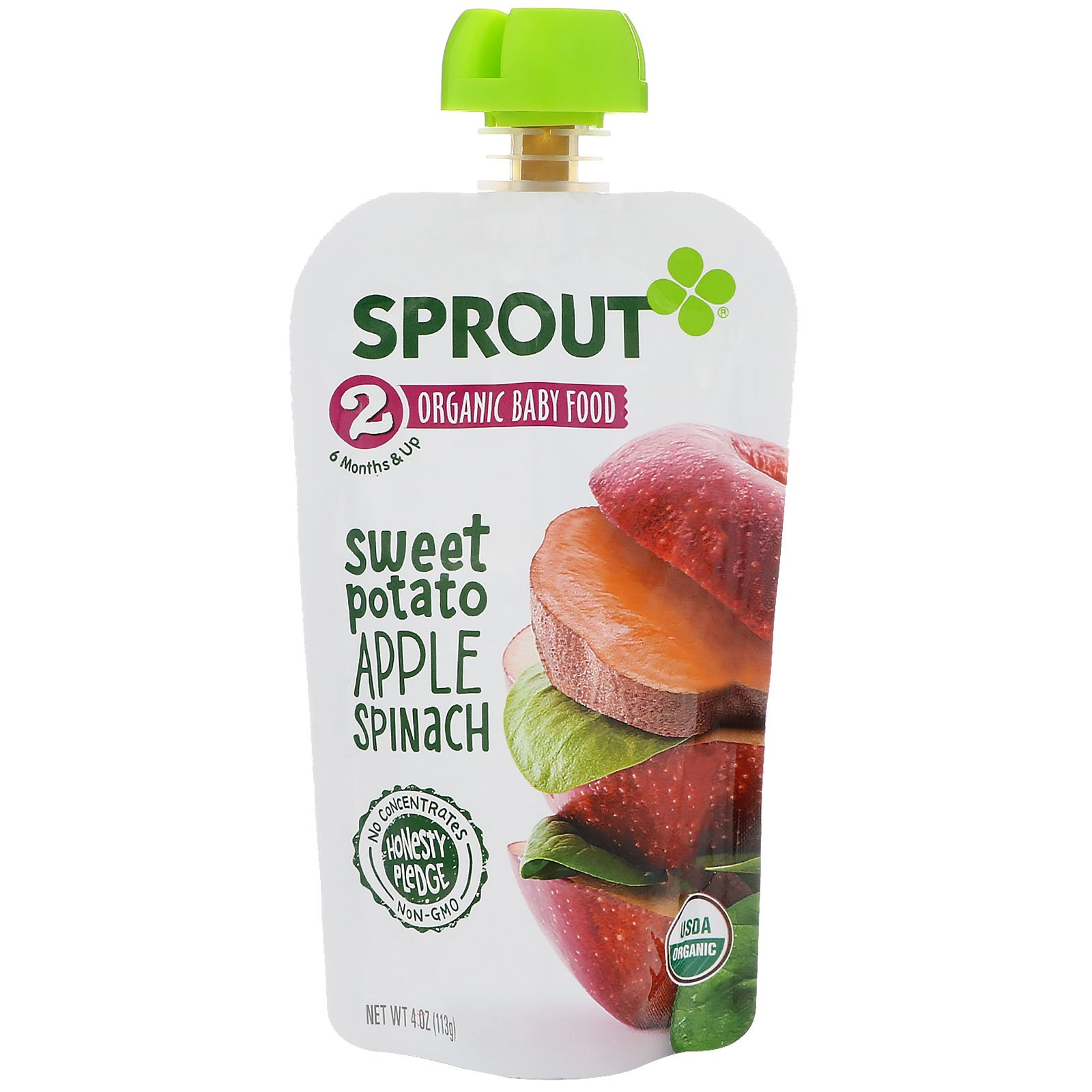 Sprout Organic Baby Food Stage 2 Sweet Potato Apple Spinach 4 oz 113 g