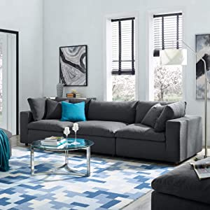 Modway Commix Down Filled Overstuffed 3 Piece Sectional Sofa Set, Armless Chair/Two Corner Chairs, Gray