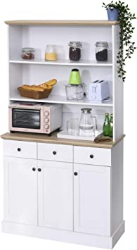 Amazon Com Homcom 71 Kitchen Pantry Buffet Server Hutch Storage Sideboard Bookcase With Drawers Cabinets For Living Room White Buffets Sideboards