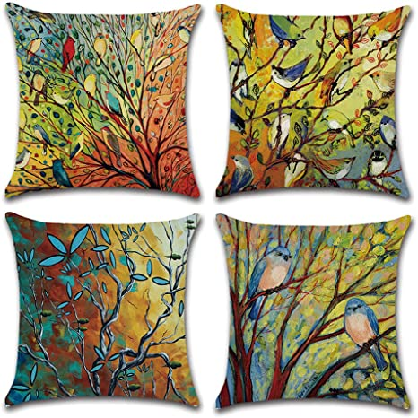 Dusen Decorative Cotton Linen Set Of 4 Throw Pillow Cushion Covers 18 X 18 Inch For Sofa Bench Bed Auto Seat Oil Painting Vivid Birds And Trees Branch Pattern Home Kitchen