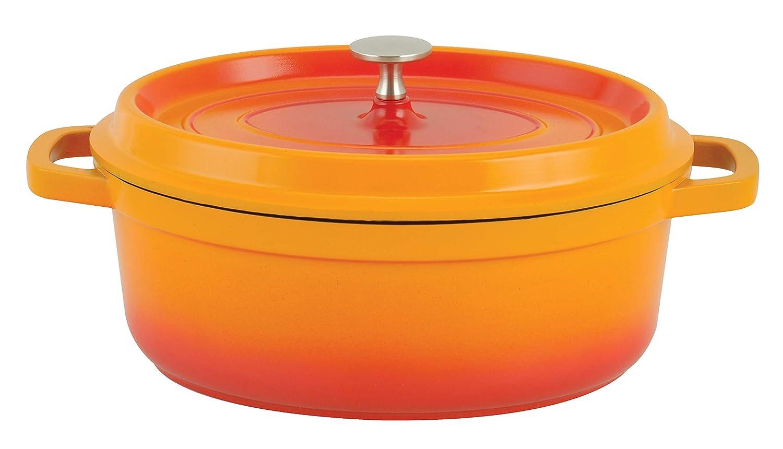 Paderno World Cuisine A1760031 Cast Aluminum Oval Dutch oven 6.63QTS Orange