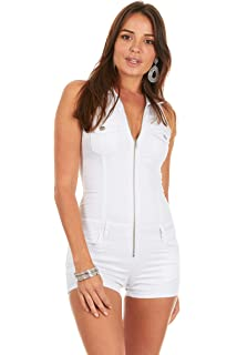 934179d85edca Cover Girl Denim Romper Jeans Shorts Zip Up Sleeveless Cute and Sexy 3  Colors Juniors and