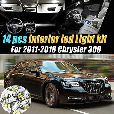 14Pc Super White 6000k Car Interior LED Light Bulb Kit Pack Compatible for 2011-2020 Chrysler 300: Automotive