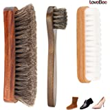 Lovebe® 靴磨き ブラシ 3点セット 馬毛ブラシ スエードブラシ 馬毛ハンドルブラシ シューケア セット 靴ブラシ 靴磨きブラシ 靴ぶらし ツヤ出し、仕上げ用