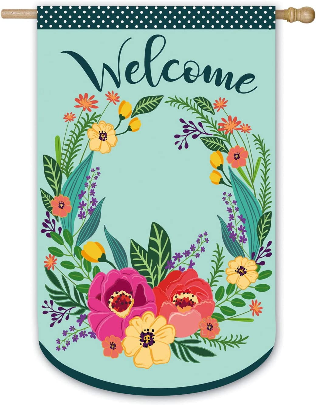 Evergreen Flag Indoor Outdoor Décor for Homes Gardens and Yards Spring Floral Welcome Wreath House Applique Flag
