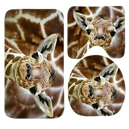 Amazon.com : SSOIU 3 Piece Bath Mat Set Baby Giraffe Non-Slip ...