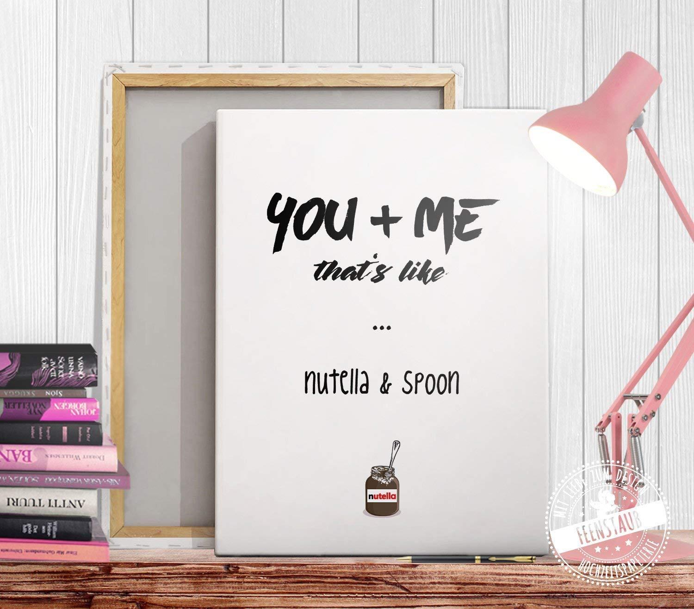 Poster Du /& Ich Geschenk f/ür sie und ihn zum Valentinstag Geburtstag Jahrestag Nutella /& L/öffel
