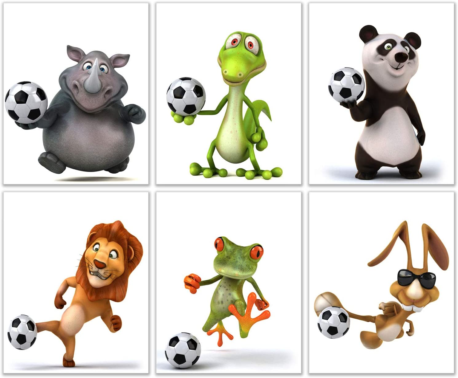 Soccer Animals Kids Wall Art Decor Prints - Set of 6 (8x10) Inch Poster Photos - Bedroom Boys Girls Gift Idea