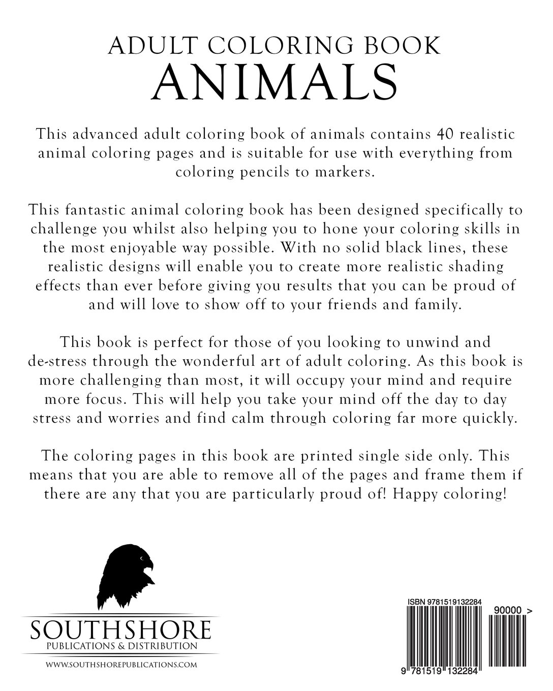amazon com coloring book animals advanced realistic animal