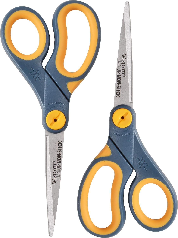 "Violet NEW Lot Of 3 Westcott 5/"" Titanium Bonded Straight Scissor with Microtip"