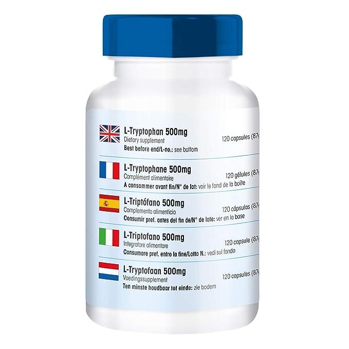 L-Triptófano 500mg - 120 cápsulas veganas - aminoácido esencial: Amazon.es: Salud y cuidado personal