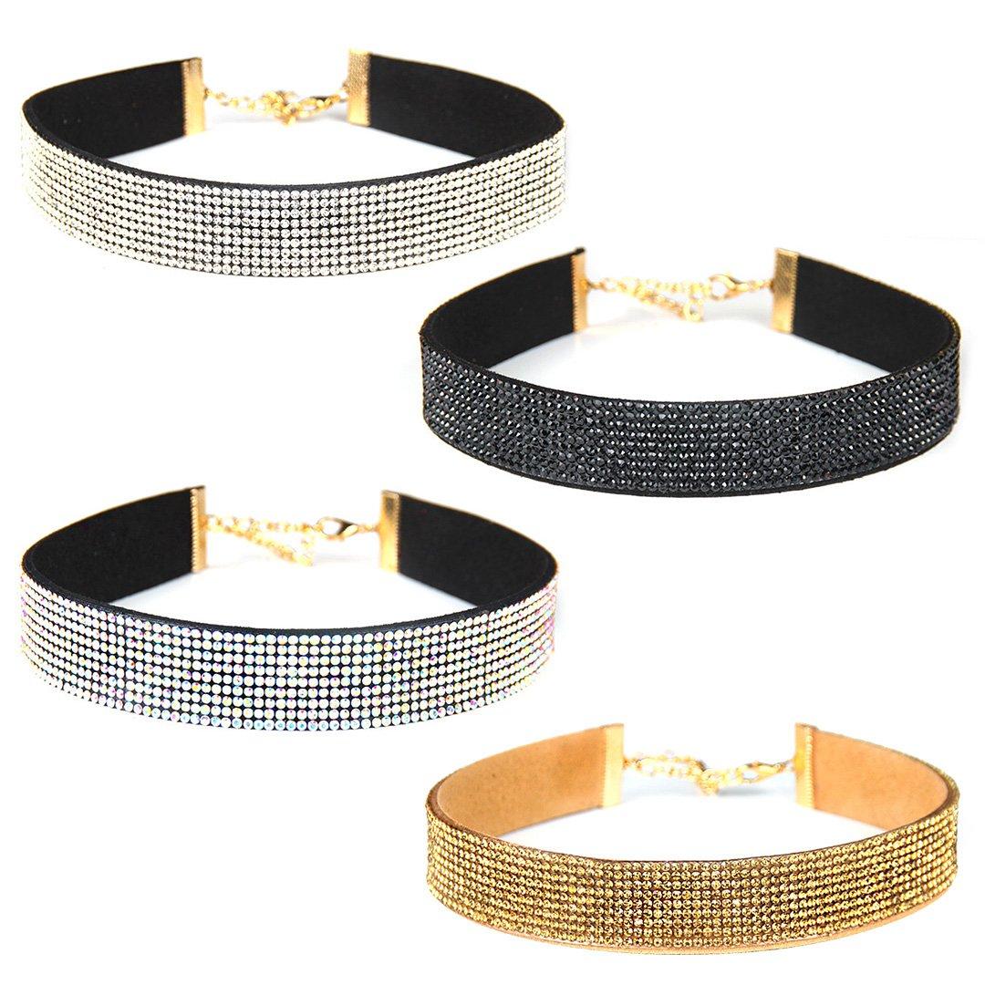 Gabrine Womens Girls Collar Choker Short Necklace Velvet Fashion Rhinestone for Wedding Party or Prom(4-Row)