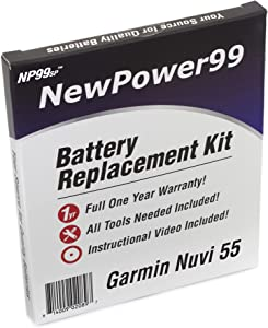 NewPower99 Battery Replacement Kit with Battery, Video Instructions and Tools for Garmin Nuvi 55