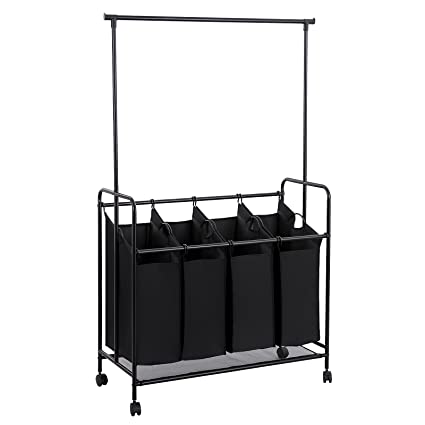 Amazoncom Songmics 4 Bag Rolling Laundry Sorter With Hanging Bar
