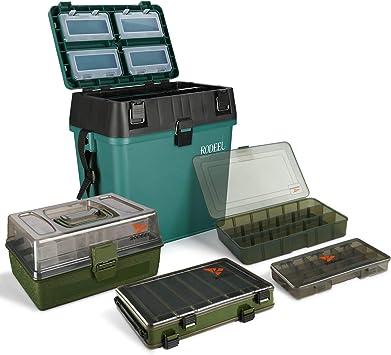 Rodeel - Caja de asiento de pesca con bandejas voladizas para aparejos de pesca, caja de accesorios ajustable, caja de almacenamiento, A-5 piezas caja de aparejos.: Amazon.es: Deportes y aire libre