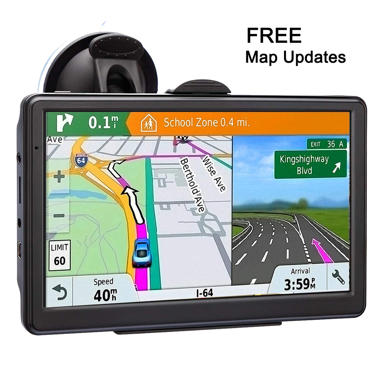 GPS Navigation for Car 7 Inch Car GPS Navigation System 8GB Voice Navigation with Lifetime Map Update Fast Location, Voice Trun-by-Turn Route Guidance, Speed Limit Reminder by NAVRUF