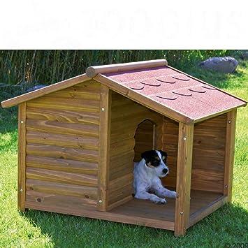 Perro perros. Tamaño mediano Log Cabin con porche Glazed pino fácil Asamblea resistente al tiempo y prueba de invierno: Amazon.es: Productos para mascotas