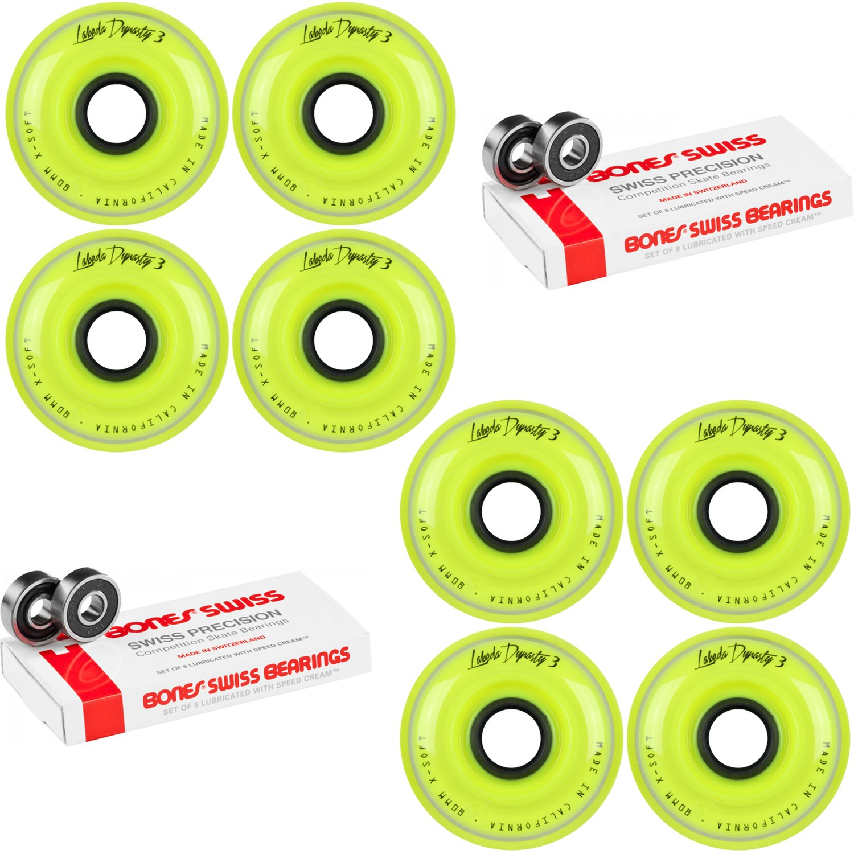 Labeda WHEELS Inline Hockey DYNASTY 3 80mm X-SOFT Yellow 8-Pack Bones Swiss by Labeda