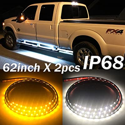 Fuguang [2PC-62inch] IP68 LED Board Running Light Truck Side Marker Flexible Step Strip Lights White & Amber Turn Signal Combo Kit(IP68): Automotive