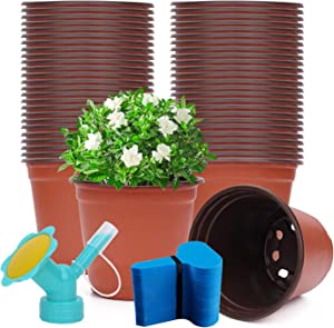 KY 120 Packs 4 Inches Plastic Plant Nursery Pots and Waterproof Plastic Plant Tags for Seeding Flower Plant Container, Seed Starting Pots, Transplanting Suitable for Garden&Outdoor