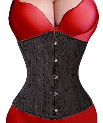 e47628c00 Image Unavailable. Image not available for. Color  3-5 Days Delivery Womens  24 Spiral Steel Boned Satin Underbust Waist Training Brocade Corset