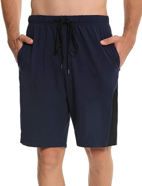 Irevial Pantalones Cortos de Pijama para Hombre Algodon, Raya ...