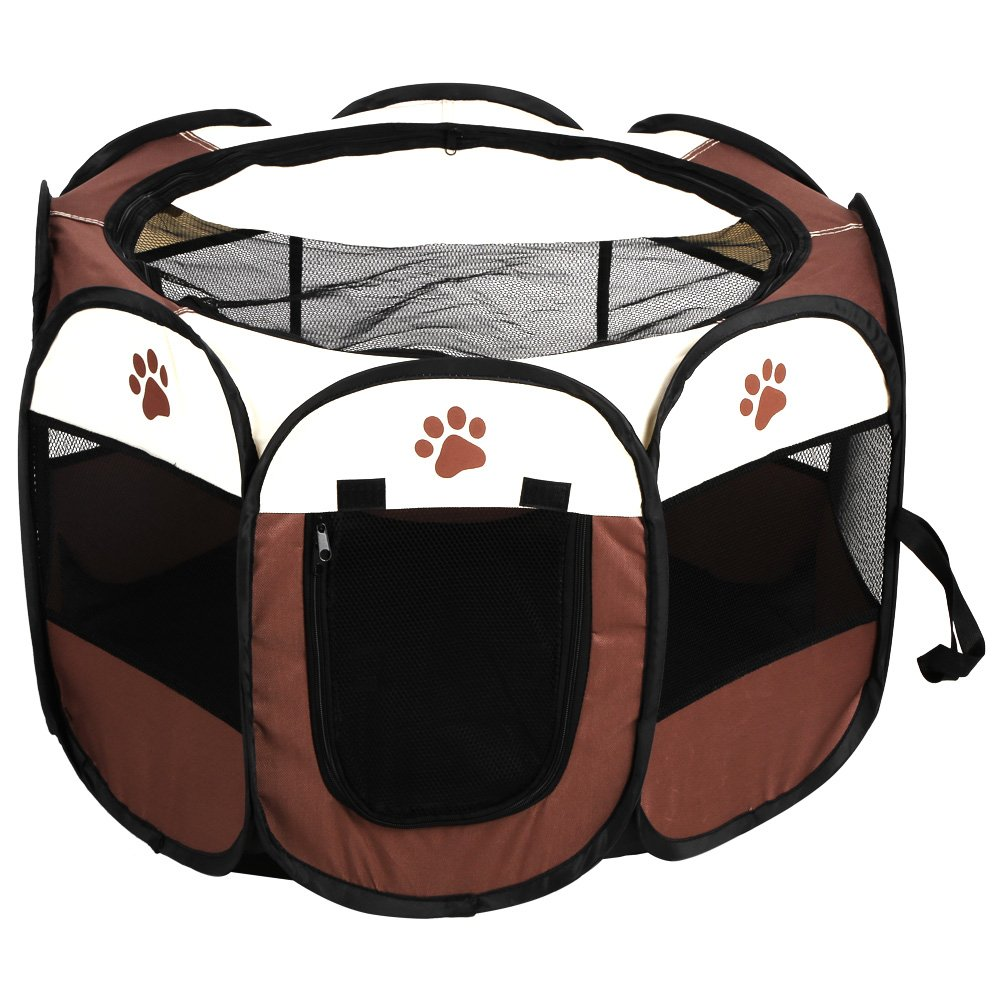 Brown Dog Kennel Pet Cat Dog Portable Foldable Cage Exercise & Play Tent Mesh Cover Indoor Outdoor Use (color   Brown)