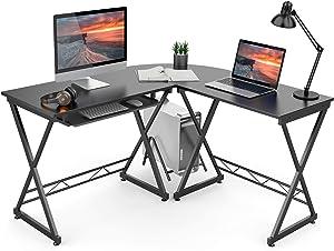 Azmkoo L-Shaped Desk Corner Home Office Desk, Computer Gaming Desk, Writing Workstation, Space-Saving, Easy to Assemble, Black