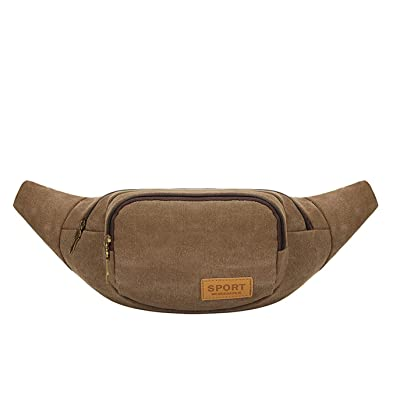 Chickle Men's Coffee Canva Outdoor Fanny Waist Bag